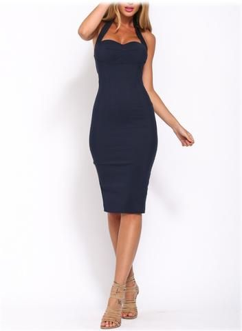 **Halter Style Sweetheart Neckline Bodycon Dress**(More Colours Available)