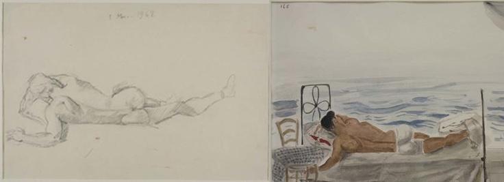 """Γιάννης Τσαρούχης - """"Νέος κοιμισμένος δίπλα στη θάλασσα"""" (Μουσείο Μπενάκη / Γιάννης Τσαρούχης. Μελέτες για 17 θέματα / 2013)"""