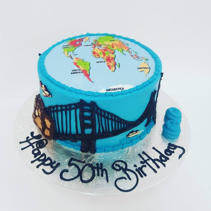 Travel World Cake with Edible Image