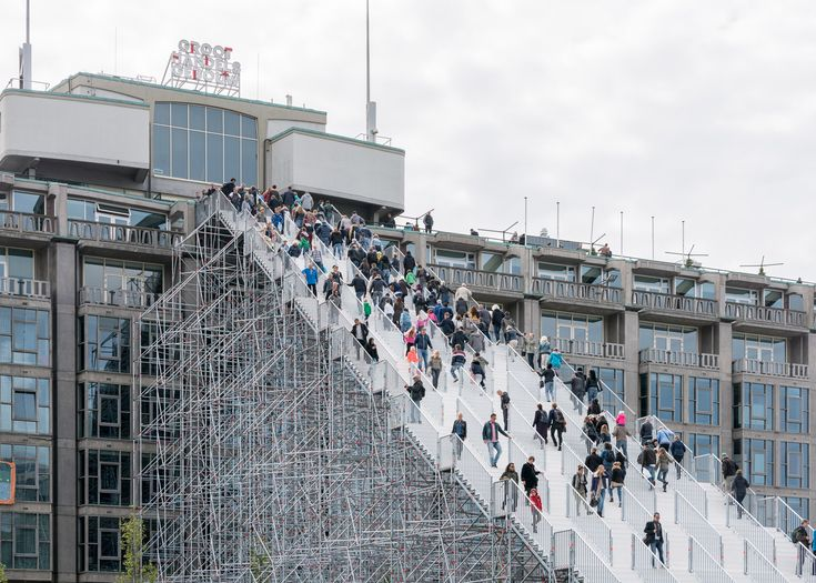 Dutch office MVRDV has revealed plans to build a huge staircase out of scaffolding in Rotterdam, the latest in a series of new additions to the city