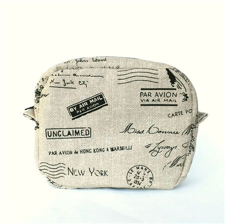 Toiletry Bag // Makeup Zipper Pouch in Wheat Postmark