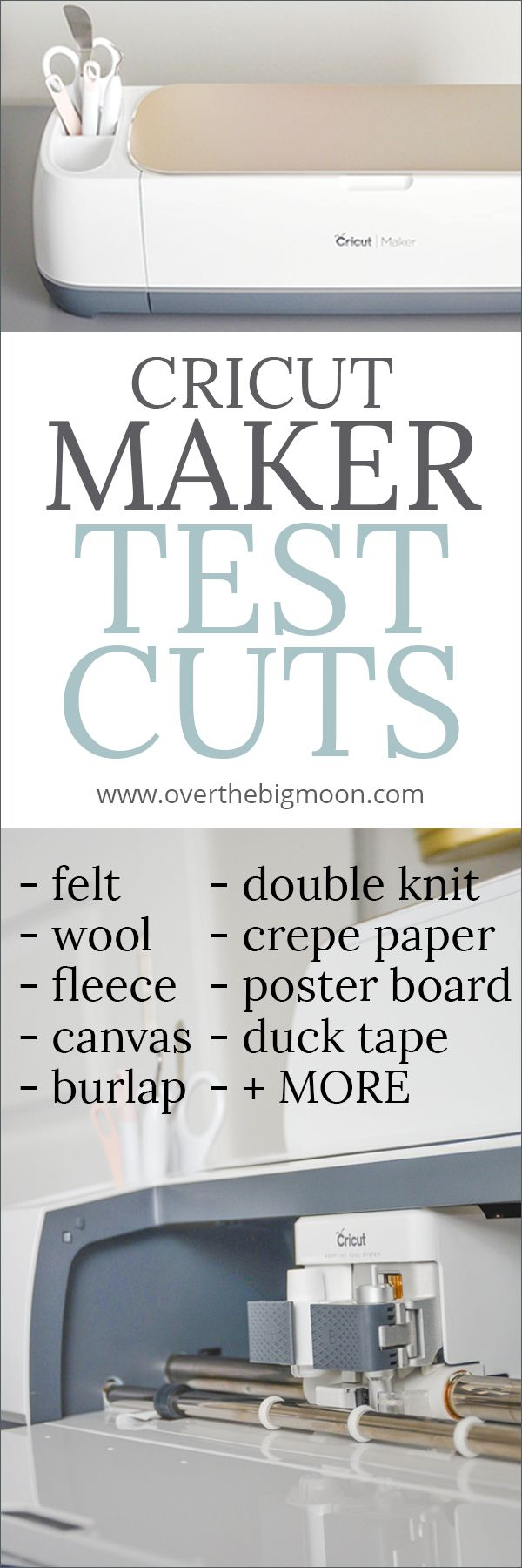 Cricut Maker Materials Testing - come watch videos of the Cricut Maker testing out tons of different materials! From overthebigmoon.com!