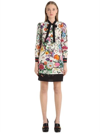 GUCCI - FLORAL SILK CADY CREPE SHIRT DRESS - IVORY