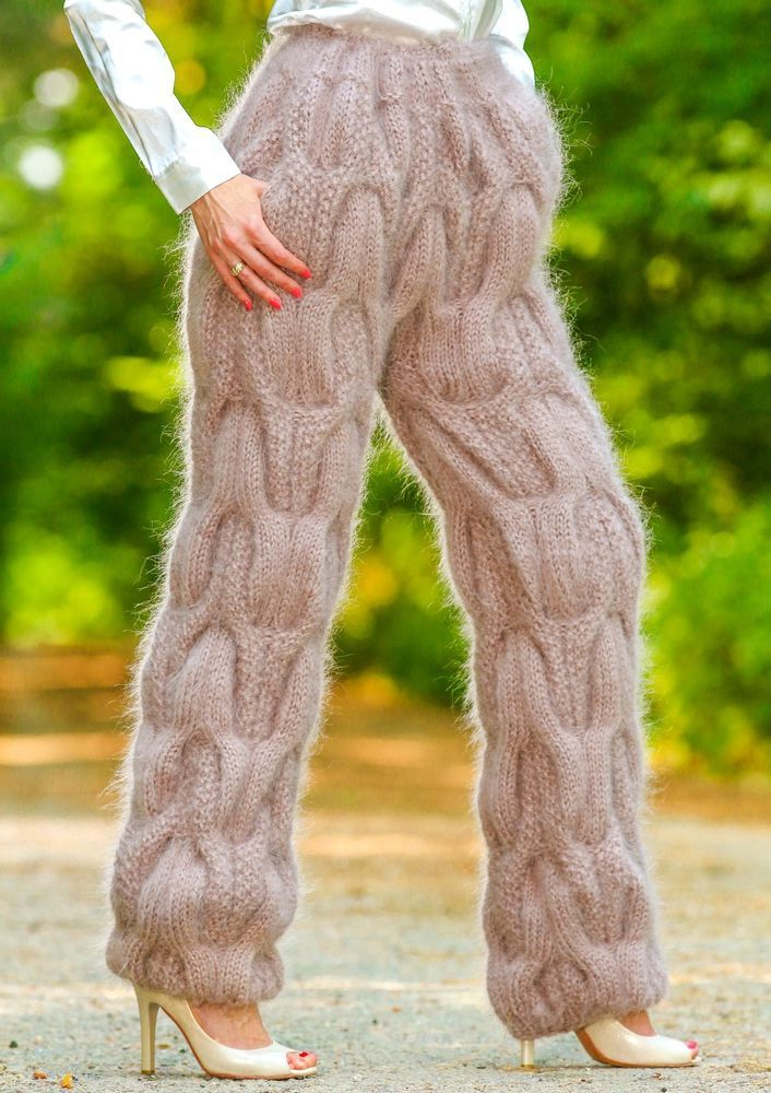 Beige Hand Knitted Cable Mohair Pants Thick Gray Fuzzy Leg