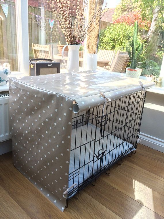 Medium Dog Crate Cover in Dotty Taupe by TheCosyCanineCompany …
