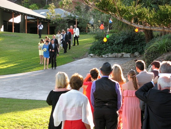 The Procession of the Families - what a fabulous way to begin your marriage ceremony.  Althea Hurwood www.altheahurwood.com.au    Brisbane Wedding Marriage Celebrant Ipswich Redcliffe Pine Rivers Redlands Sunshine Gold Coast Scenic Rim