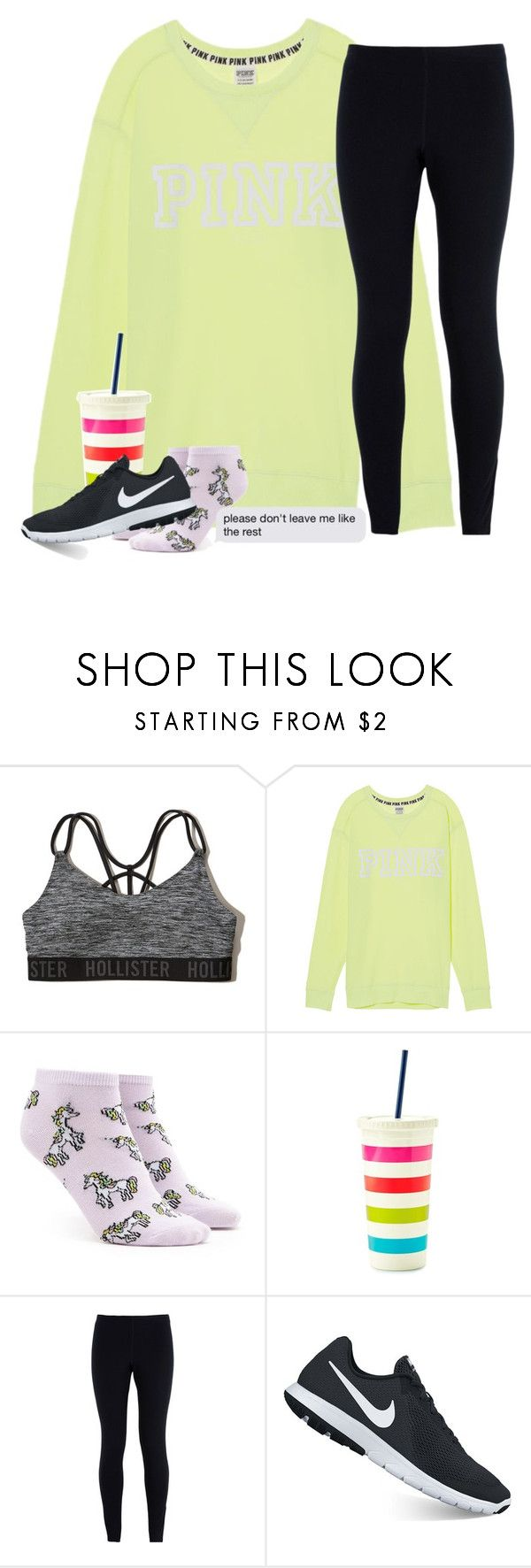"""""""No more counting dollars, we'll be counting stars✨"""" by southernstruttin ❤ liked on Polyvore featuring Hollister Co., Victoria's Secret, Forever 21, Kate Spade and NIKE"""