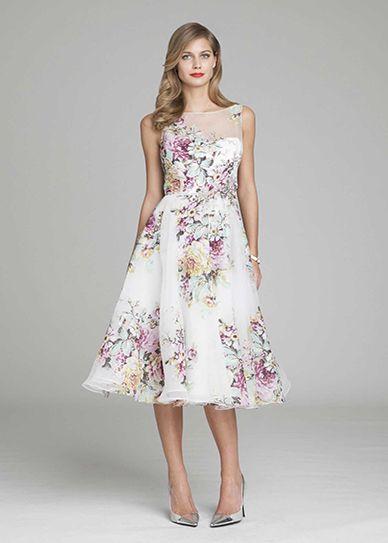 Silk Organza Tea-Length Dress