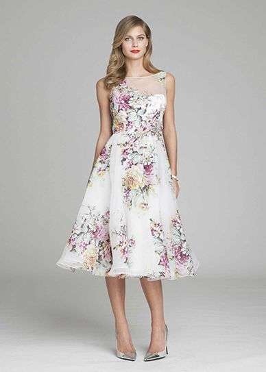 White Silk Organza Floral Tea Length Dress | Teri Jon