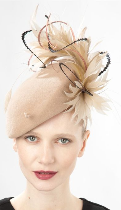 Jane Taylor Millinery, A/W 2014. Emery - Felt Beret Hat with Feathers. Beautifully cut feathers!