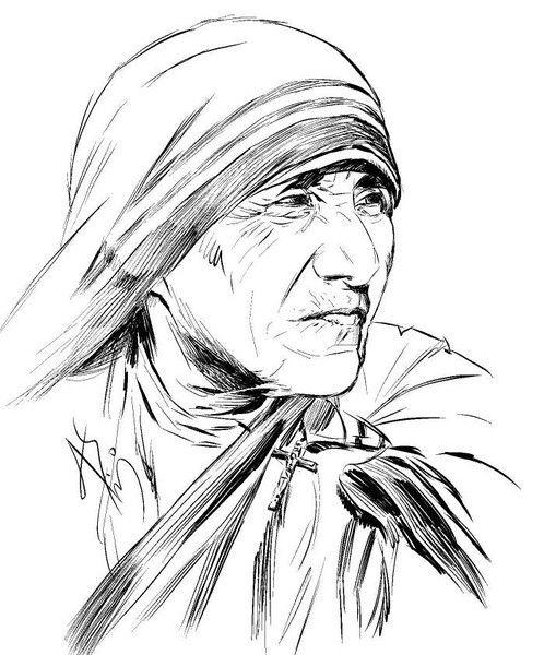 Mother Teresa Line Drawing by Atula Siriwardane | ArtWanted.com