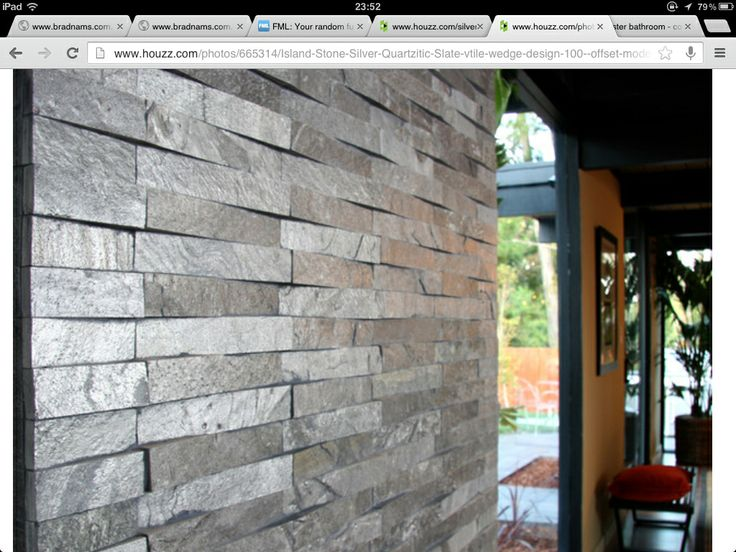 TEXTURE SILVER CLADDING  http://www.houzz.com/photos/665314/Island-Stone-Silver-Quartzitic-Slate-vtile-wedge-design-100--offset-modern-living-room-other-metro