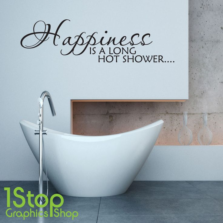 HAPPINESS IS A LONG HOT SHOWER WALL STICKER QUOTE BATHROOM WALL ART DECAL  eBay  17. Bathroom Wall Stickers Ebay