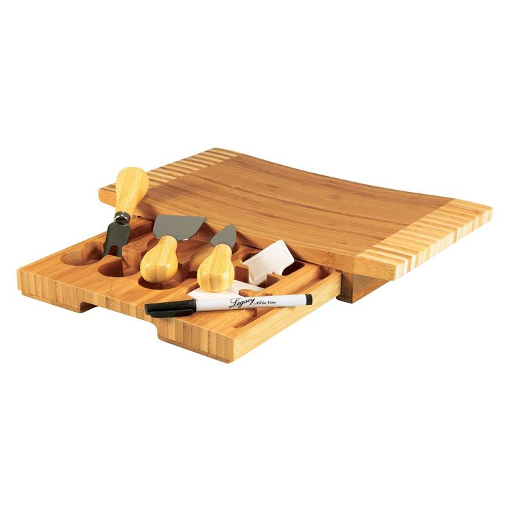 Legacy Concavo Cutting Board and Cheese Tools Set, Wood