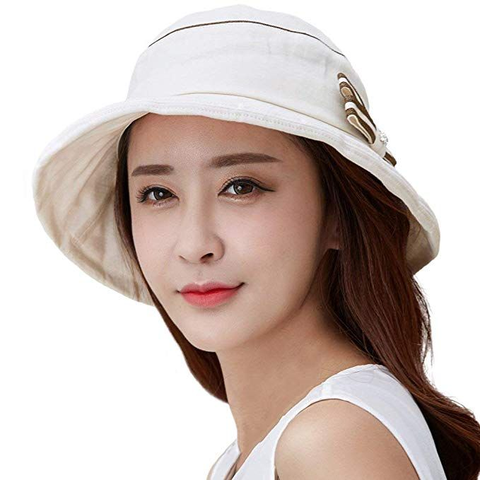 f7a318b7a11 SIGGI Womens Summer Bucket Boonie UPF 50+ Wide Brim Sun Hat Foldable Beach  Accessories Beige