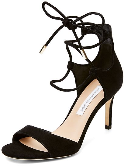 Details The Rimini heel is delicate with an edge, featuring a mid heel and lace up front perfect for running to meetings, or dancing the night away. <ul> <li>Made in China</li> <li>Goat Leather</li> </ul>