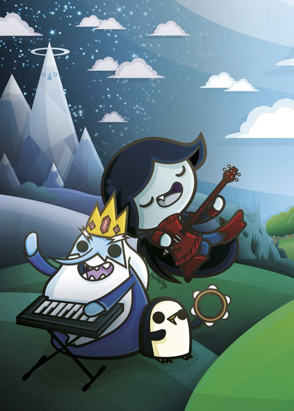 Kawaii Adventure Time by SquidandPig - Ice King, Marceline and Gunther www.squidandpig.com