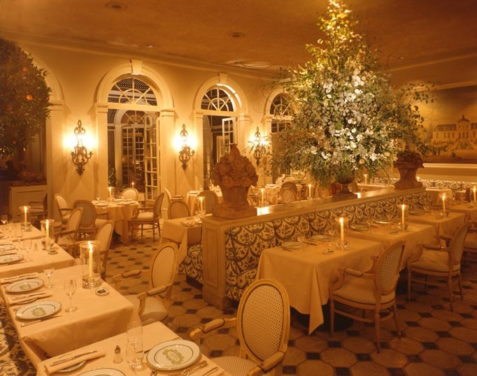L'Orangerie Restaurant, Los Angeles (Dining room at night):  THE formal classic French restaurant from the time it opened in the 1970s almost until it closed in 2006; considered the best restaurant in L.A. for many of those years.