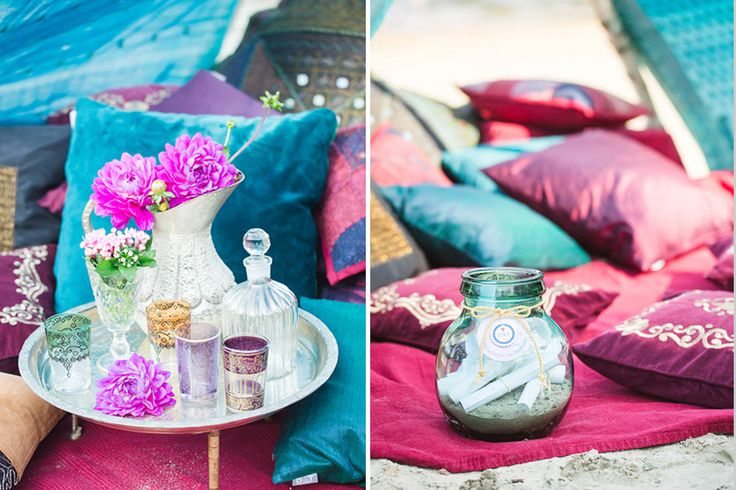 Image by Julias Chick Fotografie - A Lakeside boho hippie inspired styled shoot with bright coloured tipi, cushions, decor & flowers for a relaxed unconventional wedding by the sea.