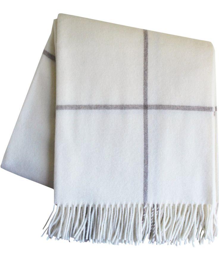 Italian Cashmere Throw Blanket, Winter White Windowpane