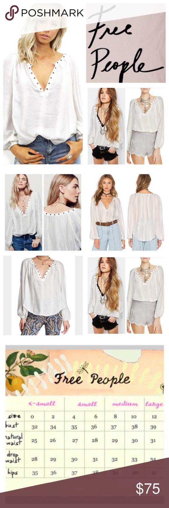 """Free People Against All Odds Top.  NWT. Free People Against All Odds Top, 64% rayon, 22% polyester, 11% polyester, 3% metallic, machine washable, 21"""" armpit to armpit (42"""" all around), 16"""" arm inseam, 24"""" length, oversized, sheer blouse features silver metallic stripes, plunging V neckline, metal grommet detailing, long sleeves and gathered elastic cuffs, measurements are approx.  NO TRADES Free People Tops"""