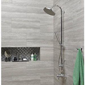 Wickes Eden Grey Glazed Porcelain Floor & Wall Tile 300x600mm - for bathroom floor?