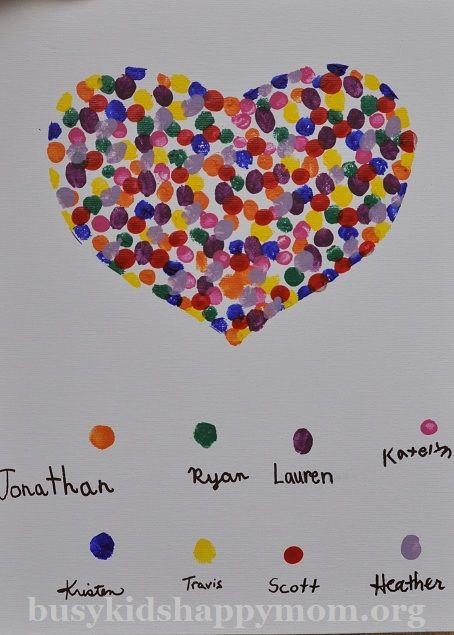 Share the Love! Fingerprint Heart Project.  A family project from Busy Kids Happy Mom