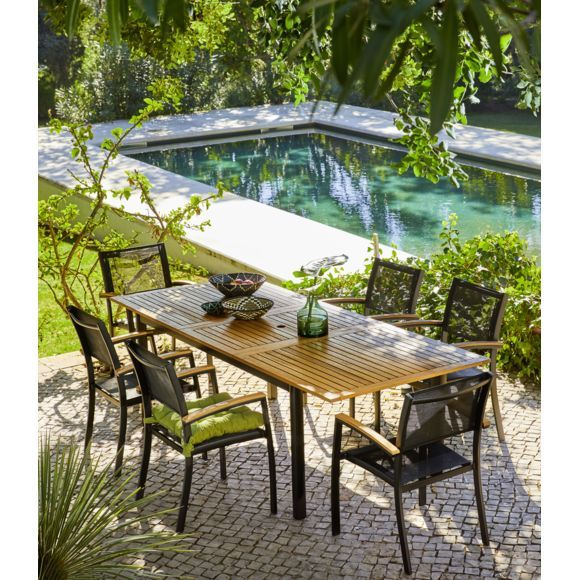 CARREFOUR Table de jardin extensible Louga pas cher Table