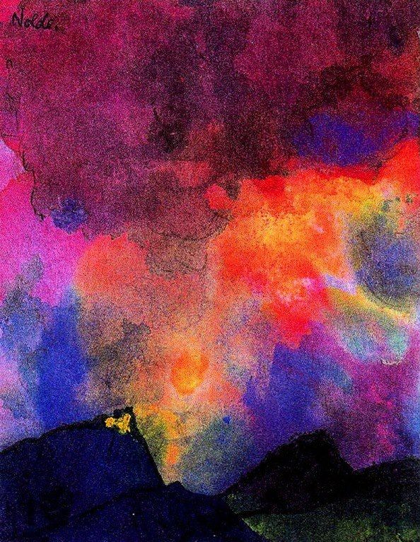 Disse akvareller står som udstillingens mest diskrete, men også smukkeste del. Nolde har afprøvet akvarelteknikken i alle retninger, måske med glæde, måske i afsavn (Nolde brugte ikke oliemaling, fordi det ville kunne lugtes), men i alle tilfælde med lyst til at eksperimentere. Akvarellerne er på én gang kraftfulde og rummer samtidig en fantastisk poetisk lethed. Farverne løber sammen og skilles i en sfærisk stoflighed, som ikke er mulig at indfange i oliemaleriet.
