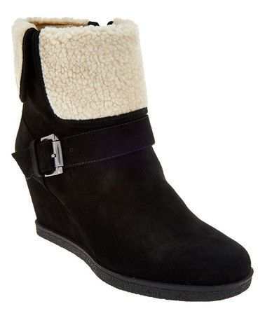 Another great find on #zulily! Black Suede Wedge Boot #zulilyfinds