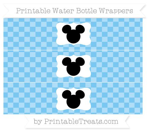 Free Pastel Light Blue Checker Pattern Mickey Mouse Water Bottle Wrappers