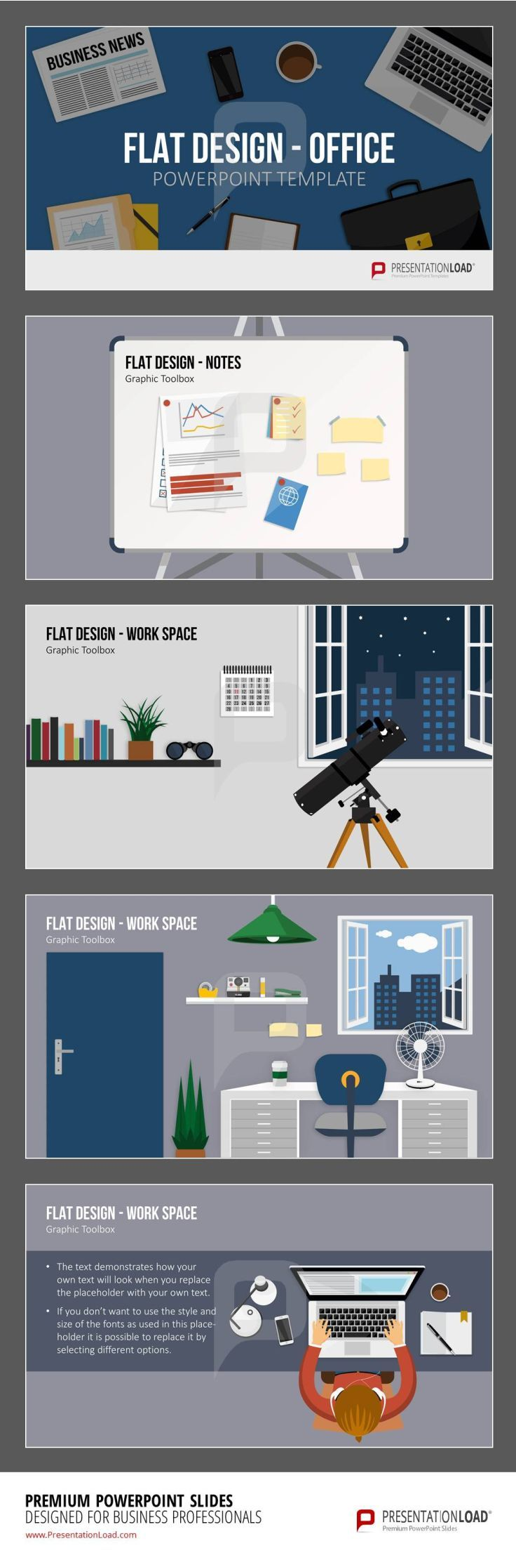 144 best flat design powerpoint templates images on pinterest flat design office items the flat design office set for powerpoint provides graphics for the office theme from individual items such as desks and alramifo Gallery