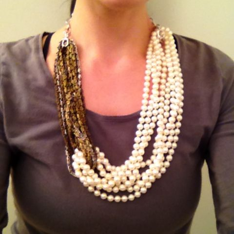 Glass pearls and multi-tone chain #statementnecklace #handmadejewelry #pearls #glass #chain #metal