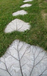 landscape rocks designed with rhubarb leaves!