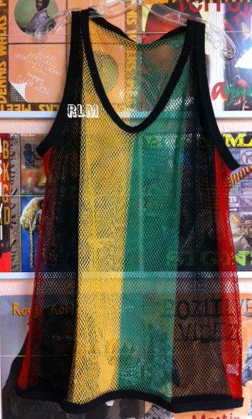 Reggae Land Muzik Store - Rasta Mesh Vest Tank Top - T Shirt (Black, Red, Green