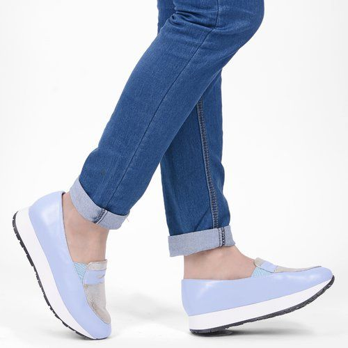 Pantofi bleu din piele naturala Sammy