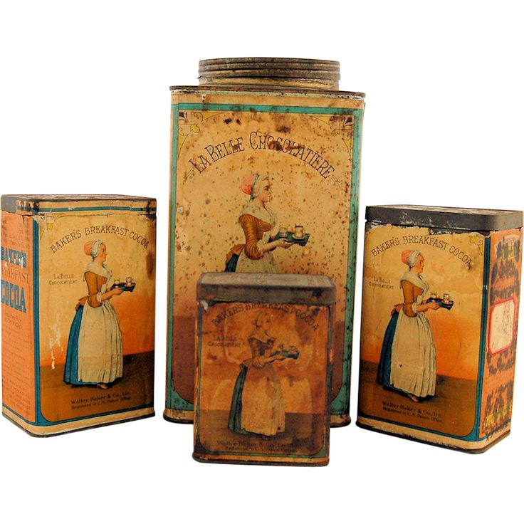 Set of Four Antique Baker's Breakfast Cocoa Chocolate Advertising Tins from @AntikAvenue on #RubyLane