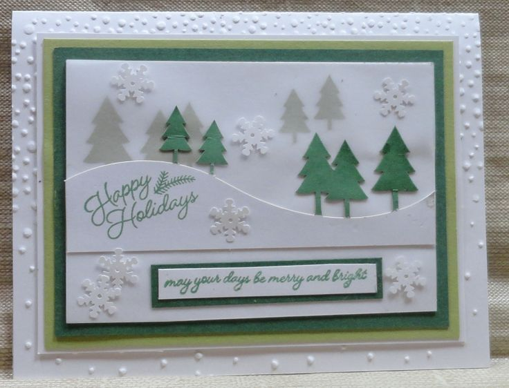 November 2016 Paper Pumpkin - alternative idea from Sandy (Added Pine Green Marvy Pad; Garden Green, Glossy White, Pear Pizzazz, & White cardstocks; Softly Falling Snow Embossing folder; Snowflake sequins)