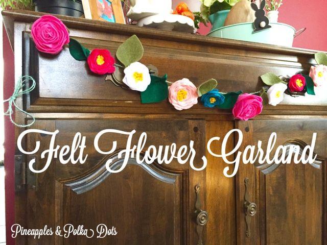 Pineapples & Polka Dots : Felt Flower Garland
