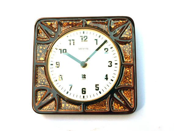 Vintage French Vedette ceramic clock, Brown and squared shape, 1970s living room or rustic kitchen decor