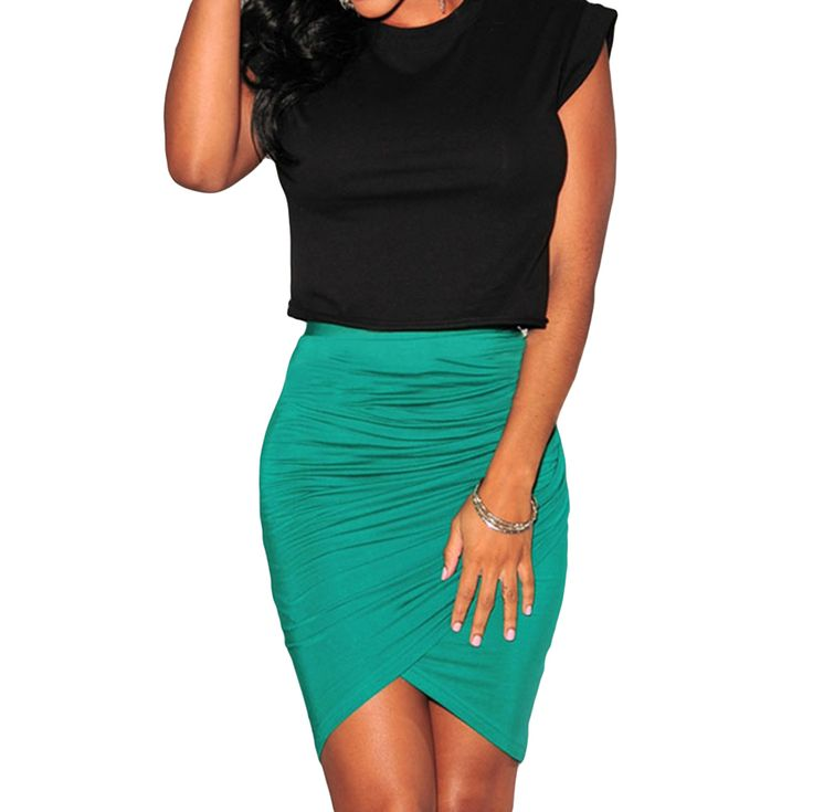 Fashion Skirt Womens Stretch Draped Empire Asymmetric Ruched Sexy Pencil Skirt Knee-length Formal Skirt Black Green Pink Saia