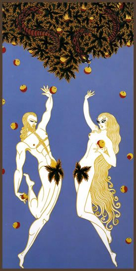 "Romain de Tirtoff (Erte'). ""Adam and Eve.""  Embossed serigraph with foil stamping."