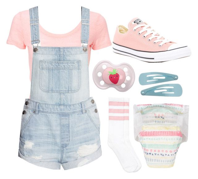 """""""ddlg -daddy said he wanted to buy me an outfit like this!-"""" by princess-llyssa ❤ liked on Polyvore featuring H&M and Converse"""
