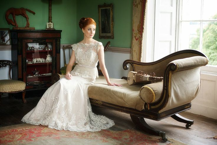 Nadine - Latte embroidered lace tulle high neckline with lace edging and a fitted princess line skirt.  http://www.jendoherty.com/Catalog/Dresses/nadine