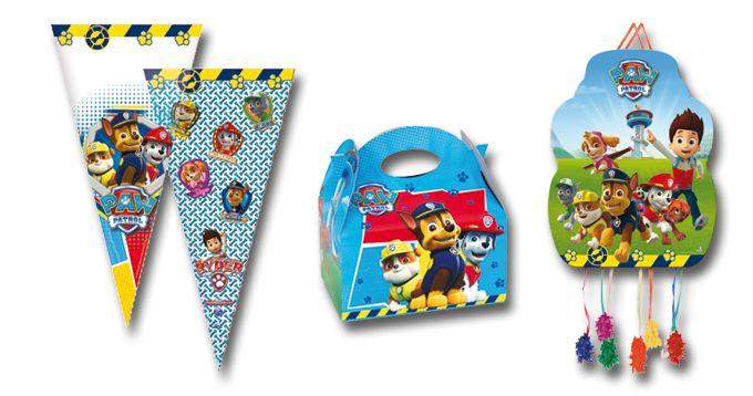 Línea Patrulla Canina, de Verbetena: Artículos de celebración: bolsa cono de 20x40 centímetros, cajita y piñatas en tres tamaños diferentes de la licencia Patrulla Canina.