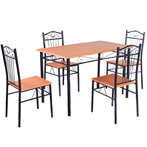 Tangkula-Steel-Frame-Dining-Set-Table-and-Chairs-Kitchen-Modern-Furniture-Bistro-Wood-New-0