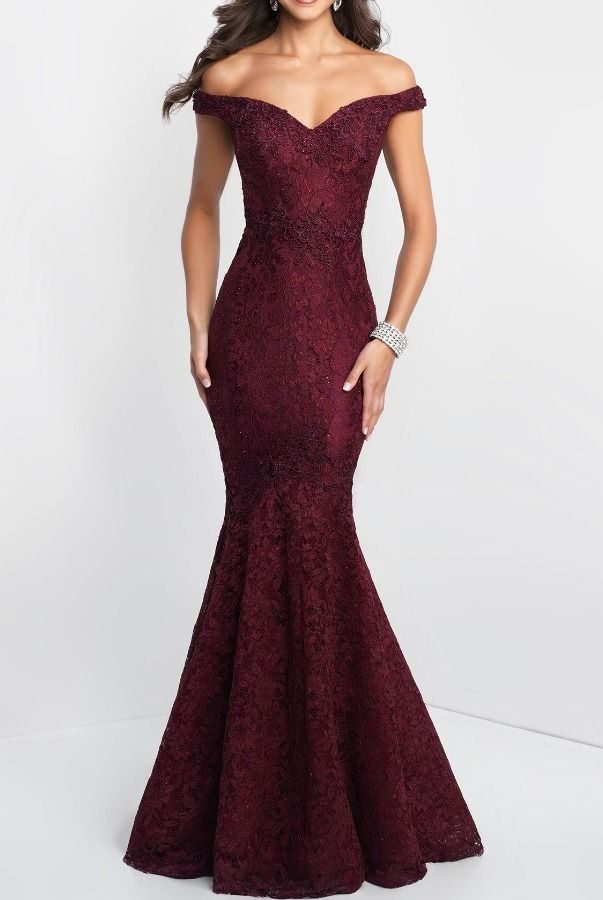 18820e2d Blush Off-Shoulder Mermaid Gown | Poshare Off-the-shoulder fitted gown with  lace detail throughout. V-back and slight train detail.