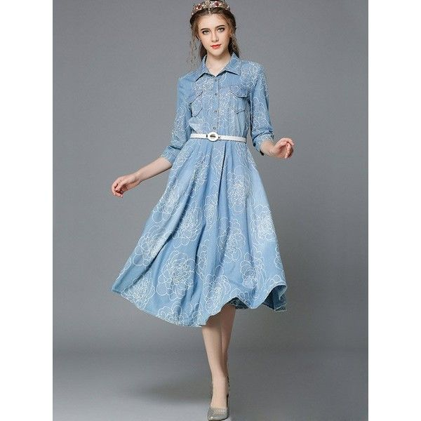 Relaxfeel Women's Long Sleeve Lapel Denim Dress With Belt Blue (€61) ❤ liked on Polyvore featuring dresses, blue, plus size, belted denim dress, long sleeve dress, blue long sleeve dress, longsleeve dress and long sleeve denim dress