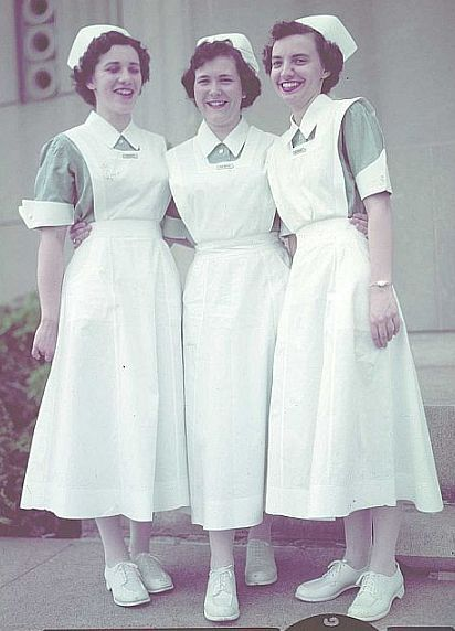 student nurses - the only change in student nurses uniforms for many years was the white hose and shoes. My class that entered Phila. Gen'l Hosp. School of Nursing in 1960, was the first not to have to wear black hose and shoes as they entered the school.