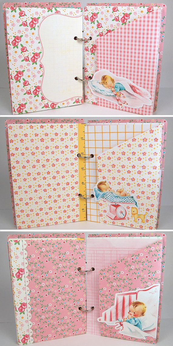 Baby girl book / vintage mini album/ premade by KBandFriends